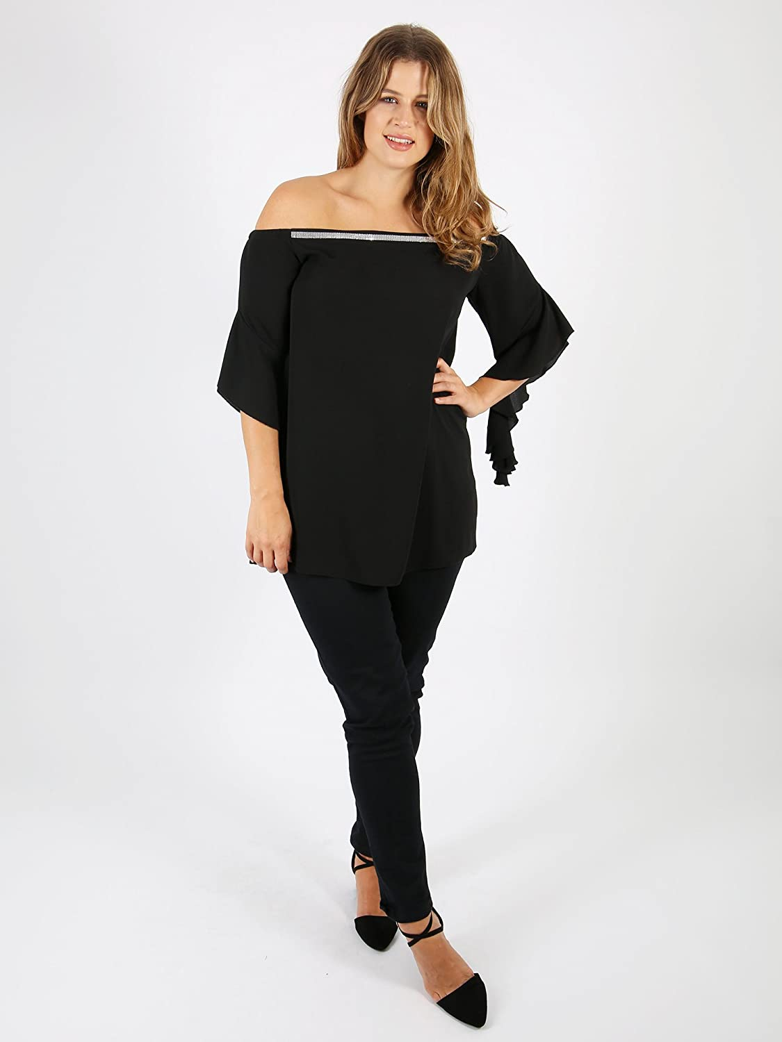 0a815a30764a47 Lovedrobe GB Womens Plus Size Black Bardot Frill Sleeve Top with Silver Trim  (26)  Amazon.co.uk  Clothing