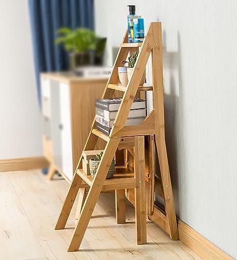 Taburete de madera maciza / Escalera alta de 4 escalones Taburetes altos de madera maciza Escalera plegable