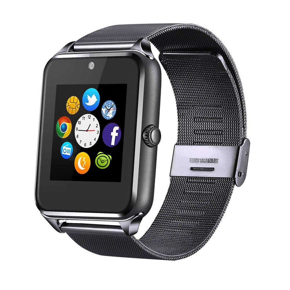 MSRM Replaceable Band Bluetooth Smart Watch Call Sync and Handfree Support Android 4.2 or Above and Iphone5s/6/6s/7/7s (Partial Functions for iPhone) (BK-1)