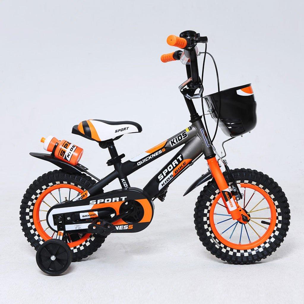 子供用自転車12/14/16インチマウンテンペダル自転車2-4/3-5/4-7歳の子供用ベビーカー高炭素鋼、緑/オレンジ (Color : 14 inch orange)   B07D29FNH8