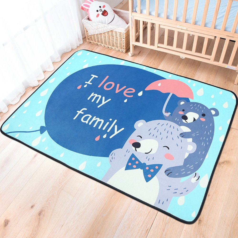 QXMEI Children Crawling Pad Cartoon Folding Living Room Bedroom Home Room Carpet Non-Slip,B-59.178.7in