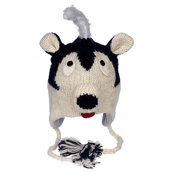 Gorro de lana y forro polar hecho a mano con forma de zorrillo ... 213aa3342a0