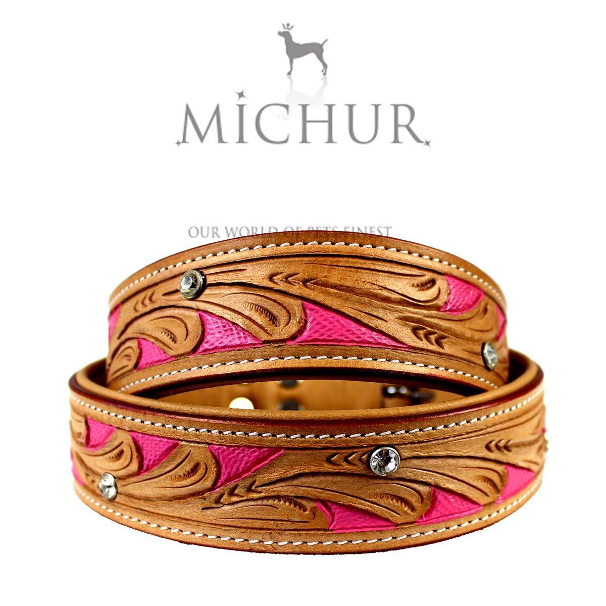 Michur Pinklady - Collier en cuir pour chien, beige avec roses, collier de chien, collier, cuir, différentes tailles