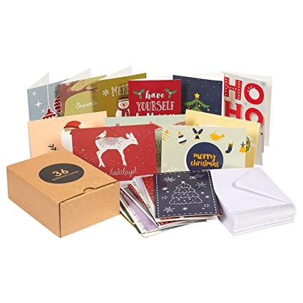 Amazon 36 pack merry christmas greeting cards bulk box set 36 pack merry christmas greeting cards bulk box set assorted winter holiday xmas greeting m4hsunfo