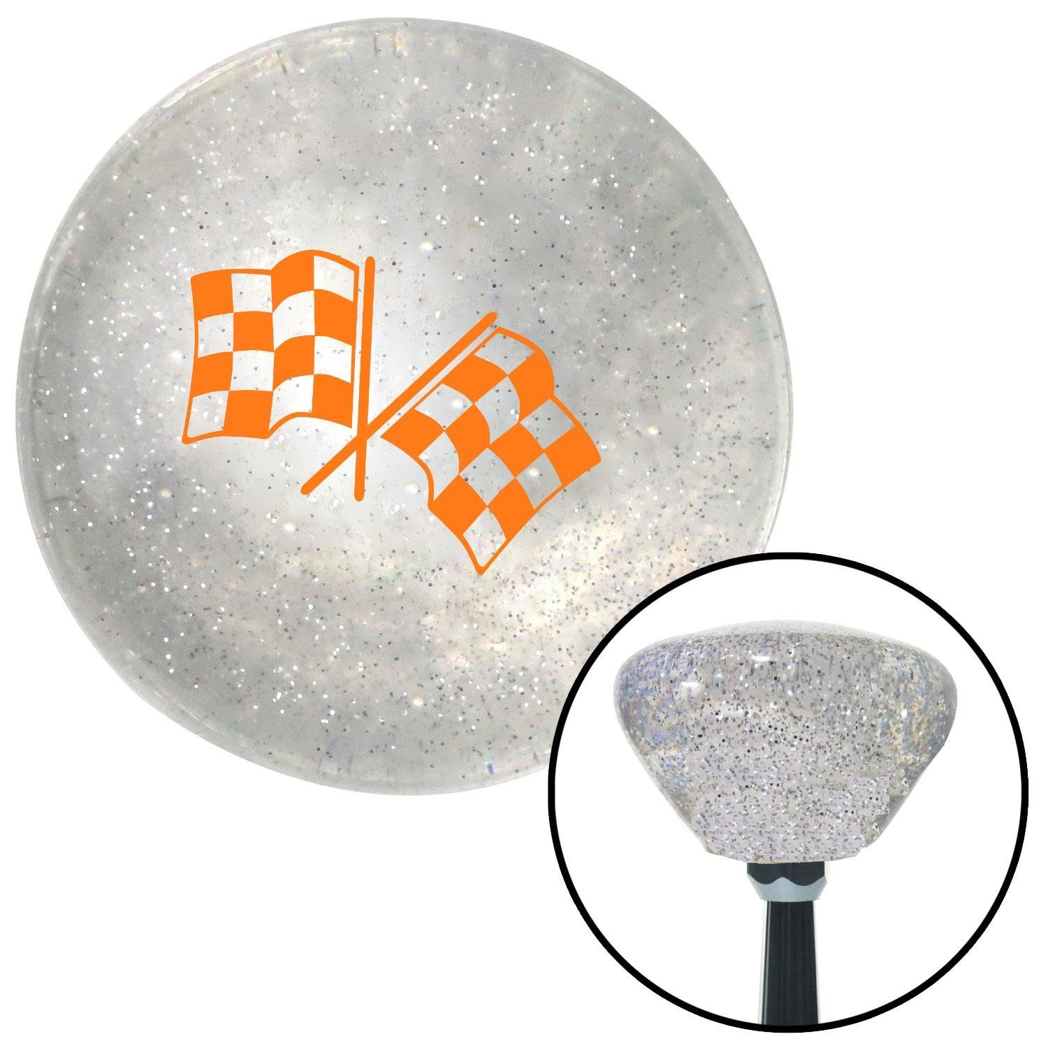 American Shifter 163621 Clear Retro Metal Flake Shift Knob with M16 x 1.5 Insert Orange 2 Checkered Race Flags