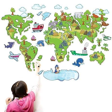 Amazoncom Amaonm Cute Cartoon Green Tree Nursry Animals World Map - Cute world map wallpaper