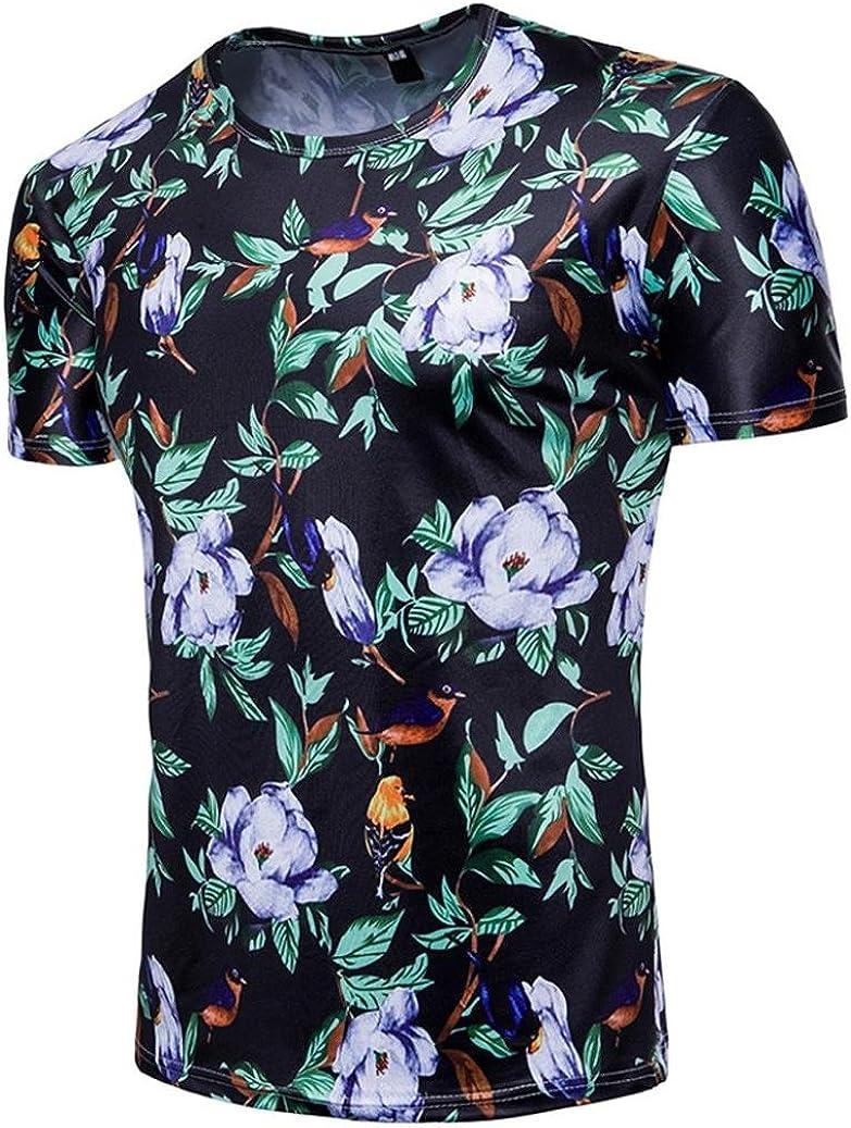 T-Shirts /à Manches Courtes,Covermason Tee Shirt 3D Impression Florale T-Shirt /à Manches Courtes pour Hommes Chemisier D/écontract/é