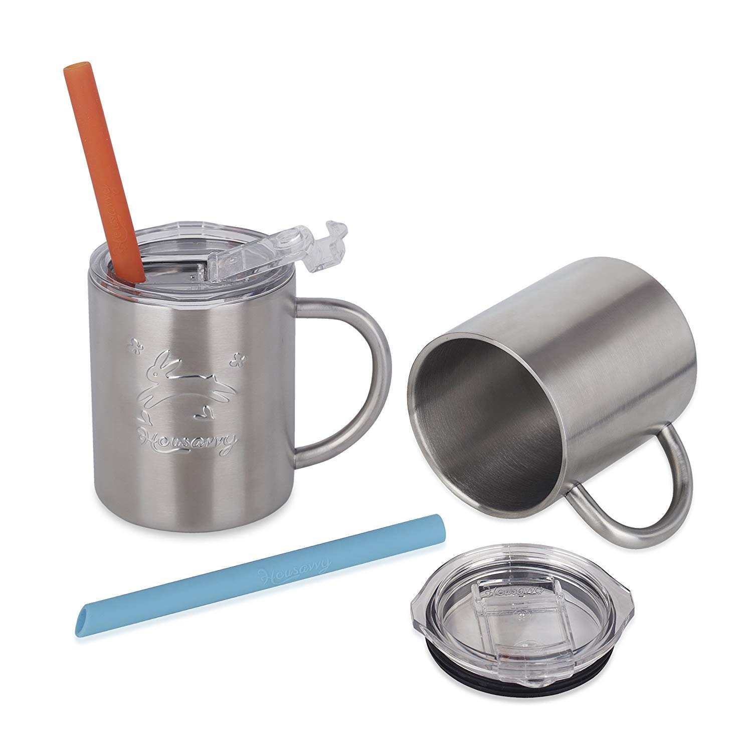 Housavvy 2 Pack of 10 Oz, Rabbit Stainless Steel Cup Set with Lids and Straws