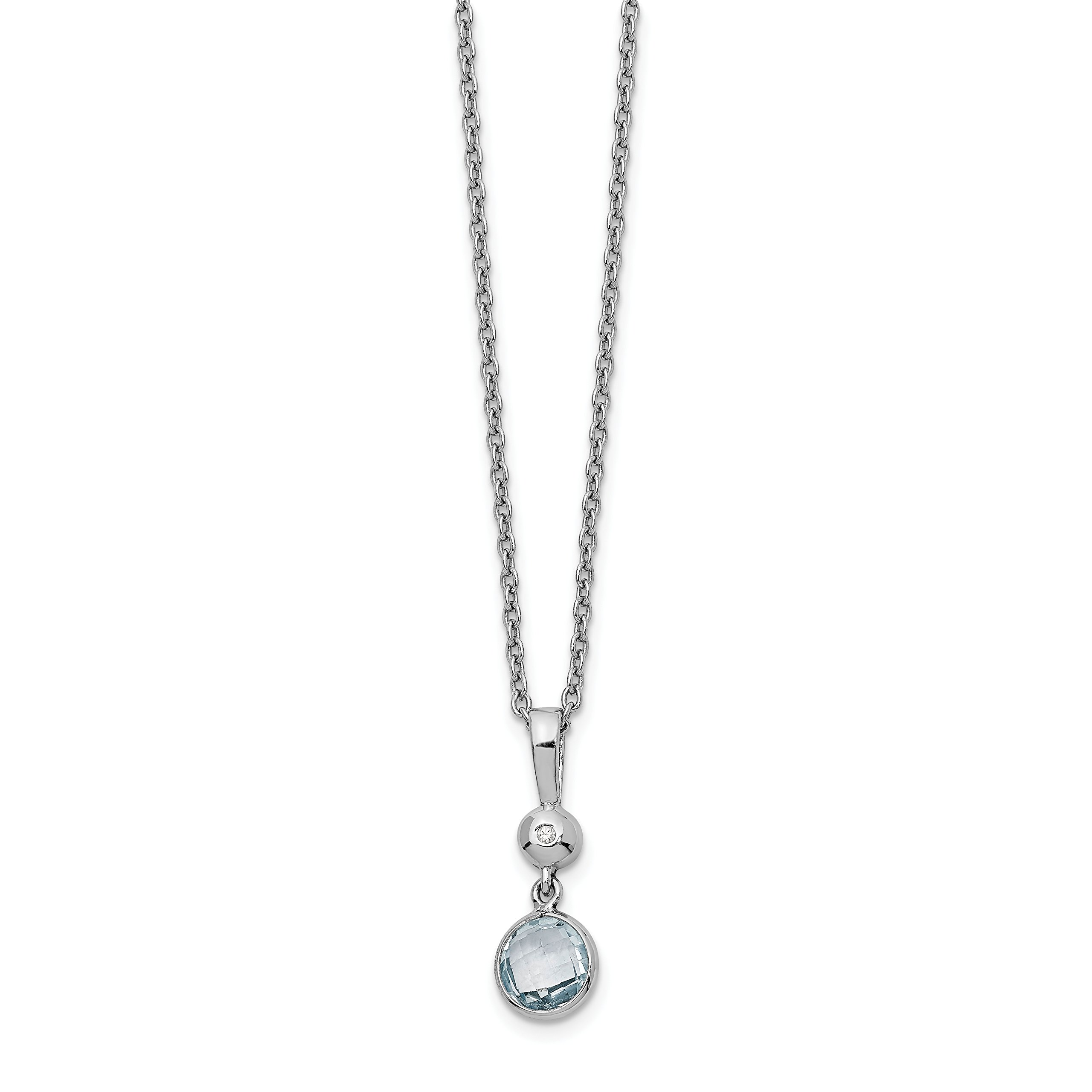 ICE CARATS 925 Sterling Silver Blue Topaz Diamond Chain Necklace Gemstone Fine Jewelry Gift Set For Women Heart