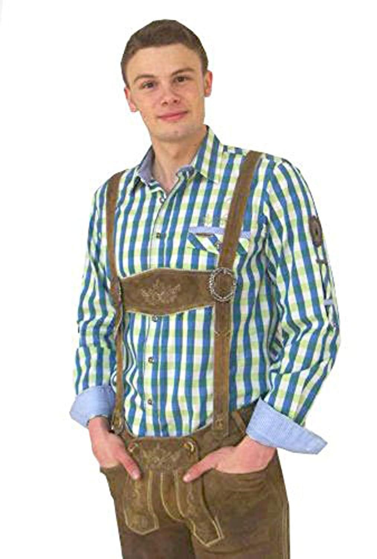 Modisches kariertes Hemd Raubach in blau grün mit Krempelarm