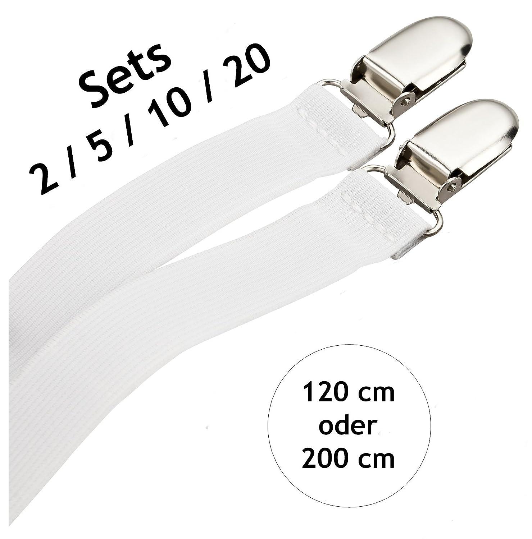 DESERMO® Betttuchspanner 120cm oder 200cm lang | Spanner im Set 2/5/10 oder 20 Stück Bettlakenspanner 2er Pack 120cm