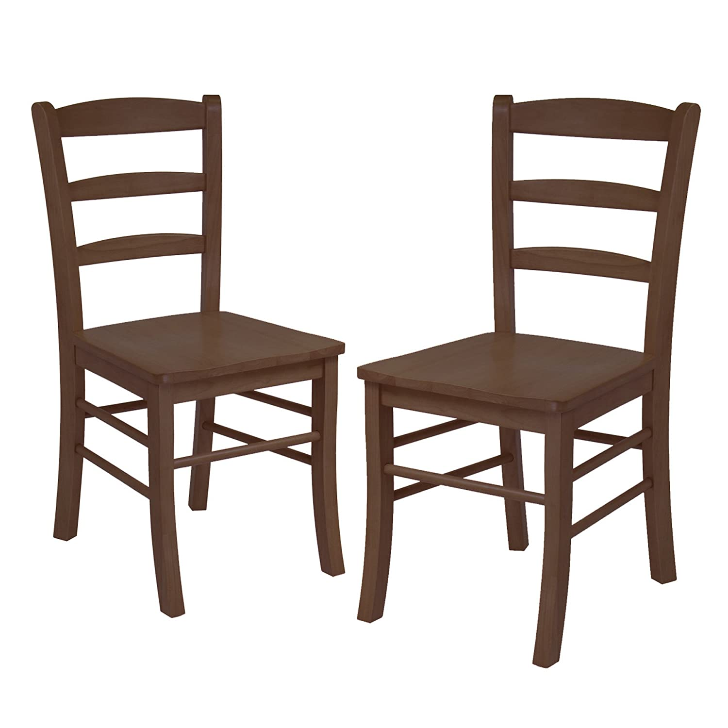Amazon.com: Winsome Wood Ladder Back Chair, RTA, Antique Walnut, Set Of 2:  Kitchen U0026 Dining