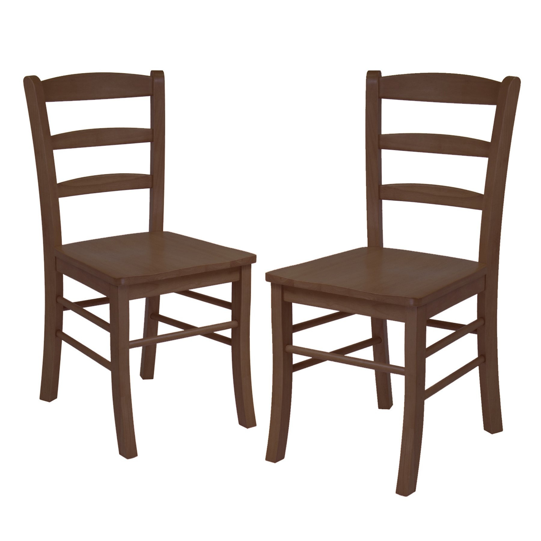 Winsome Wood Ladder Back Chair, RTA, Antique Walnut, Set of 2