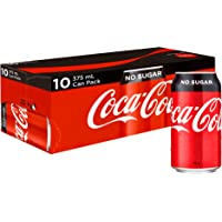Coca-Cola No Sugar Soft Drink Multipack Cans 10 x 375 mL
