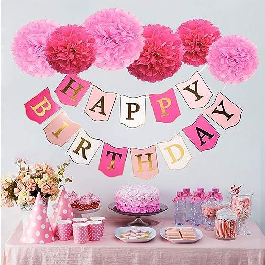 iShinê 52 unids Feliz cumpleaños Bunting Rosa Dorado borlas ...