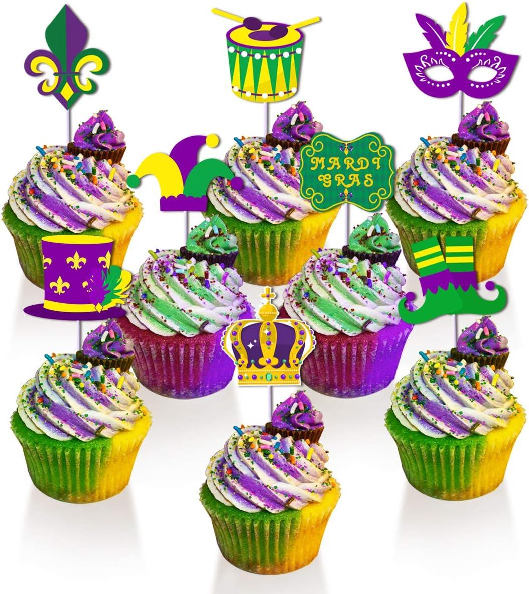 24 pcs Mardi Gras Cupcake Toppers Mardi Gras Dessert Cake Picks for New Orleans Carnival Themed Birthday Party Baby Shower Decor