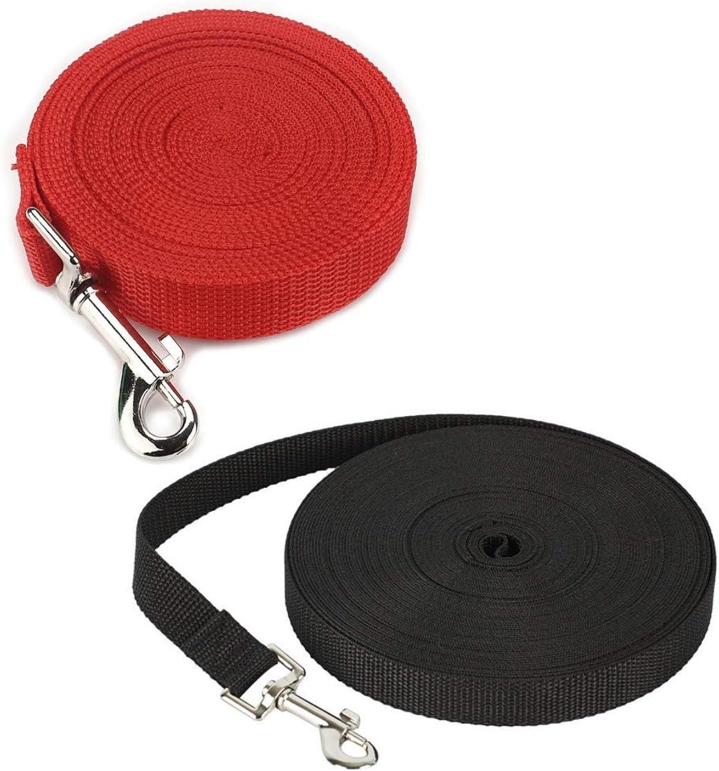 JZK2 x Correa de Adiestramiento para Perros Larga Correas Nylon para Grande, Medio y Perros pequeños para Correr y Entrenamiento (Negro 10m, Rojo 6m)