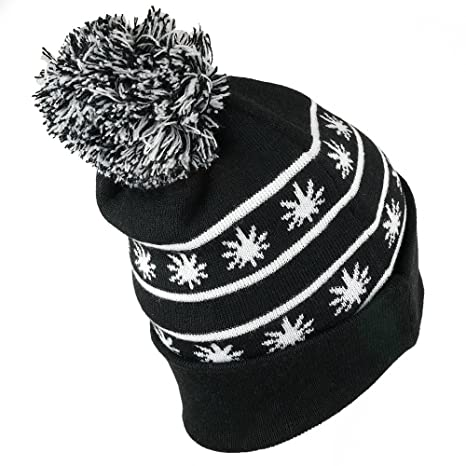 ccee68f94ef Amazon.com  Marijuana Leaf Pom Pom Acrylic Beanie Hat - Black White   Clothing