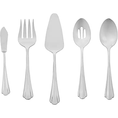AmazonBasics 5-Piece Stainless Steel Serving Set with Scalloped Edge