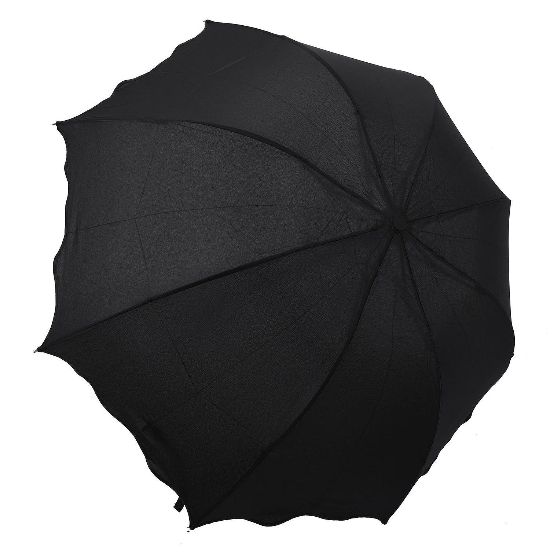 SODIAL ( R )紫外線対策LadyレディースFlouncingプリンセスドームパラソル太陽/雨折りたたみ式傘ブラック   B073VHJ2MY
