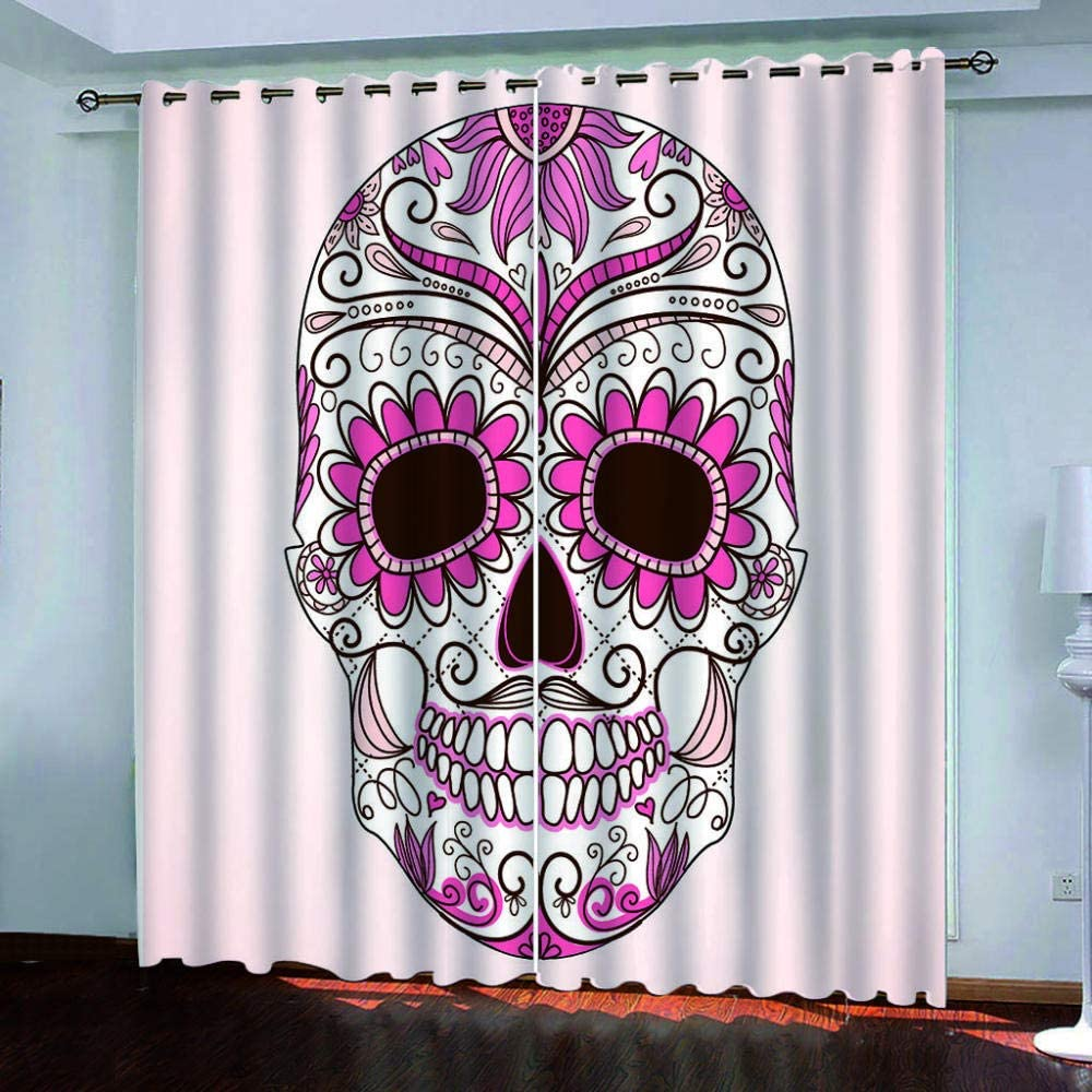 Zhoudd Bbapdan Pair Of Solid Thermal Insulated Blackout Curtains Pink /& Skull Eyelet Top Window Treatment Room Darkening Curtains//Drapes 2/ X/ W29/ X/ L65/ Inch Living Room Home Decoration
