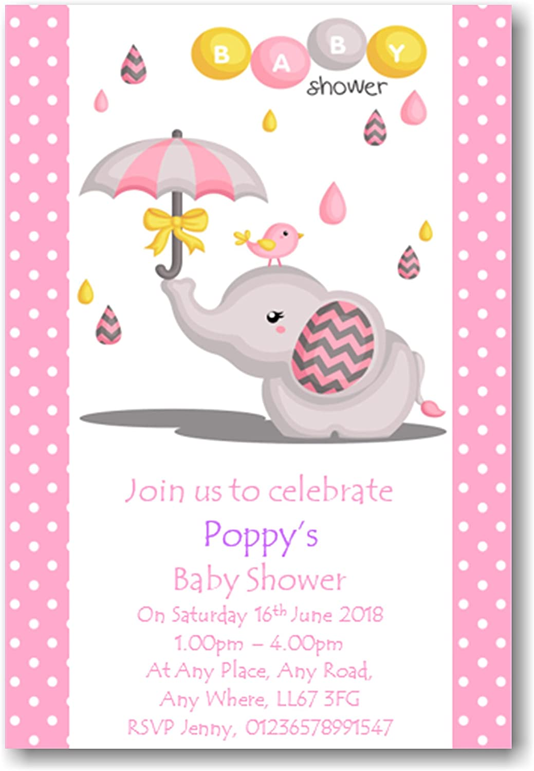 Personalised Beautiful Girls Baby Shower Invitations Invites REF BS22 Surprise can be added 10