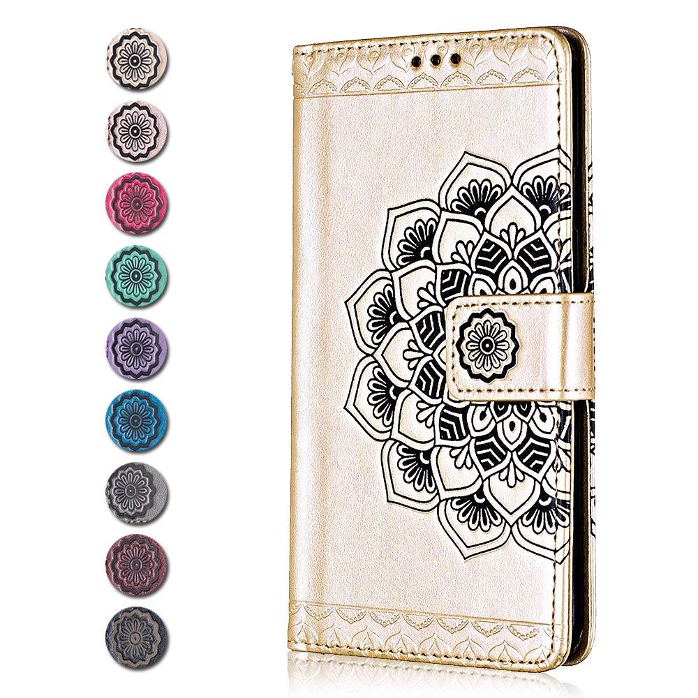 CAXPRO/® Leder Schutzh/ülle mit Klappfunktion Magnetisch Verschluss Handyh/ülle f/ür Apple iPhone SE//Apple iPhone 5 5s Kratzfestes Tasche iPhone SE//iPhone 5 5s H/ülle Gold