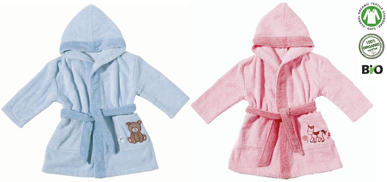Egeria Pony Baby Hooded Coat 100% Organic Cotton Terry Towelling Bathrobe rose 100 cm x 100 cm B01FD7ZF0E