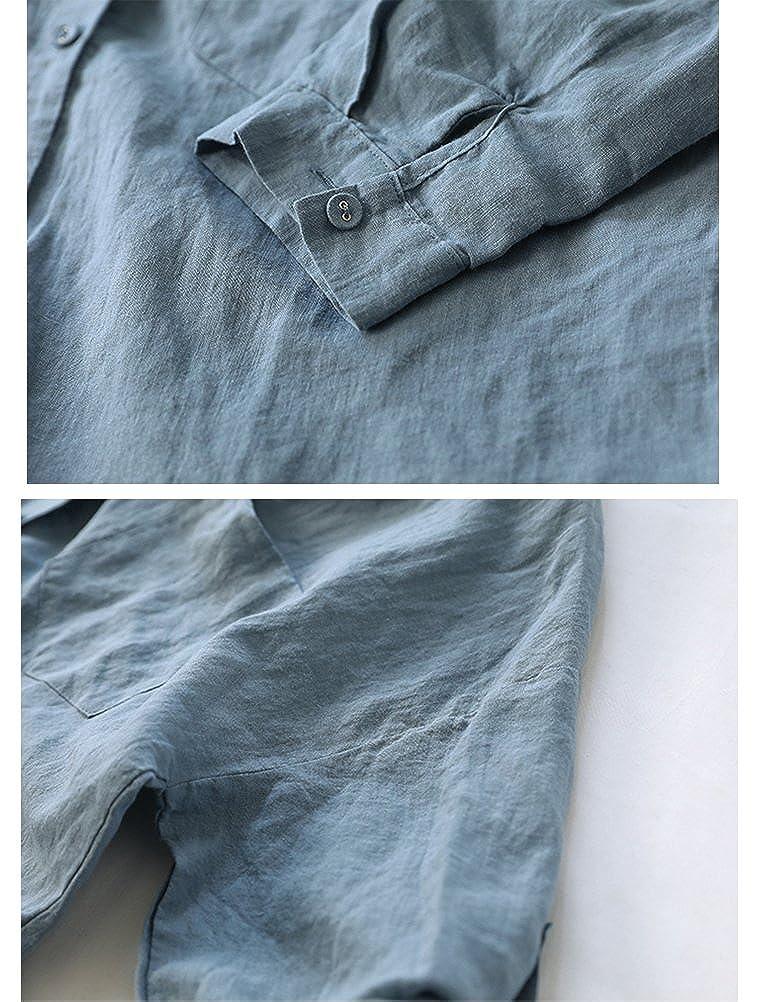 9bc6cb2e9bc0b2 Minibee Womens Linen Blouse High Low Shirt Roll-Up Sleeve Tops ...