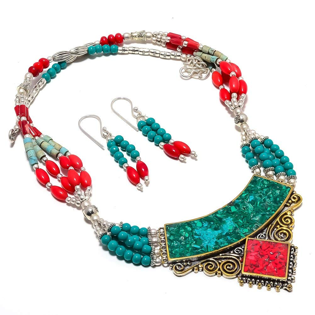 Nepali Work Handmade Jewellry Blue Turquoise Red Coral Silver Plated 82 Grams Necklace 17-18