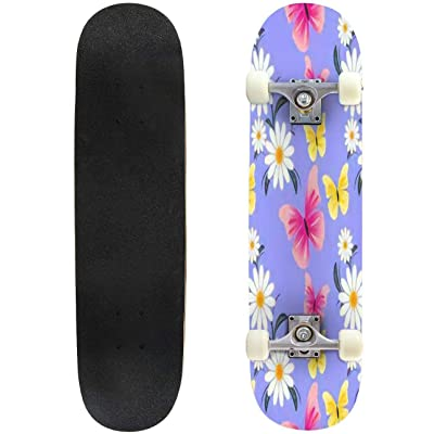 "Vintage Pink Daisies Ditsy Seamless Pattern Great for Summer Vintage Outdoor Skateboard 31""x8"" Pro Complete Skate Board Cruiser 8 Layers Double Kick Concave Deck Maple Longboards for Youths Sports : Sports & Outdoors"
