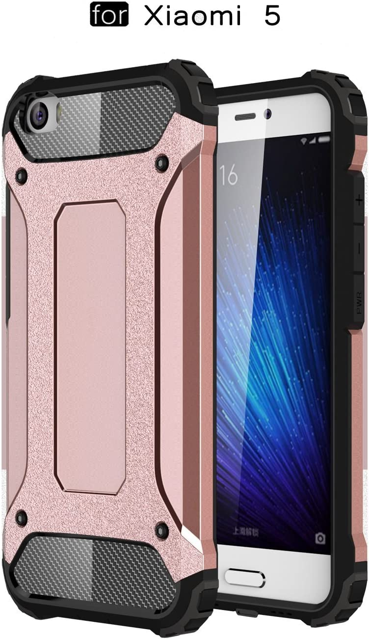 Ycloud Funda para Xiaomi Mi5 Doble Capa Híbrida Armor Silicona TPU + Duradero PC Case Shock-Absorción Armadura Oro Rosa Carcasa para Xiaomi Mi5