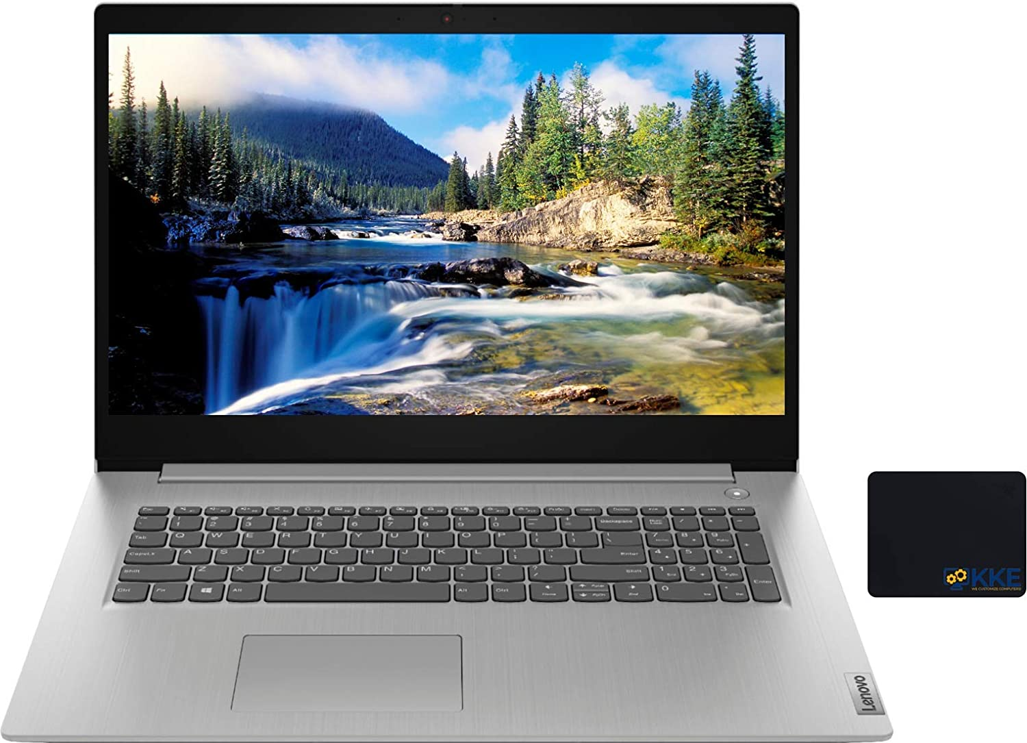 "Lenovo IdeaPad 3 Laptop, 17.3"" HD+ Screen, AMD Ryzen 7-3700U Processor up to 4.0GHz, 20GB DDR4 RAM, 512GB PCIe SSD + 1TB HDD, Webcam, WiFi, Bluetooth, Windows 10, Platinum Grey, KKE Mousepad"