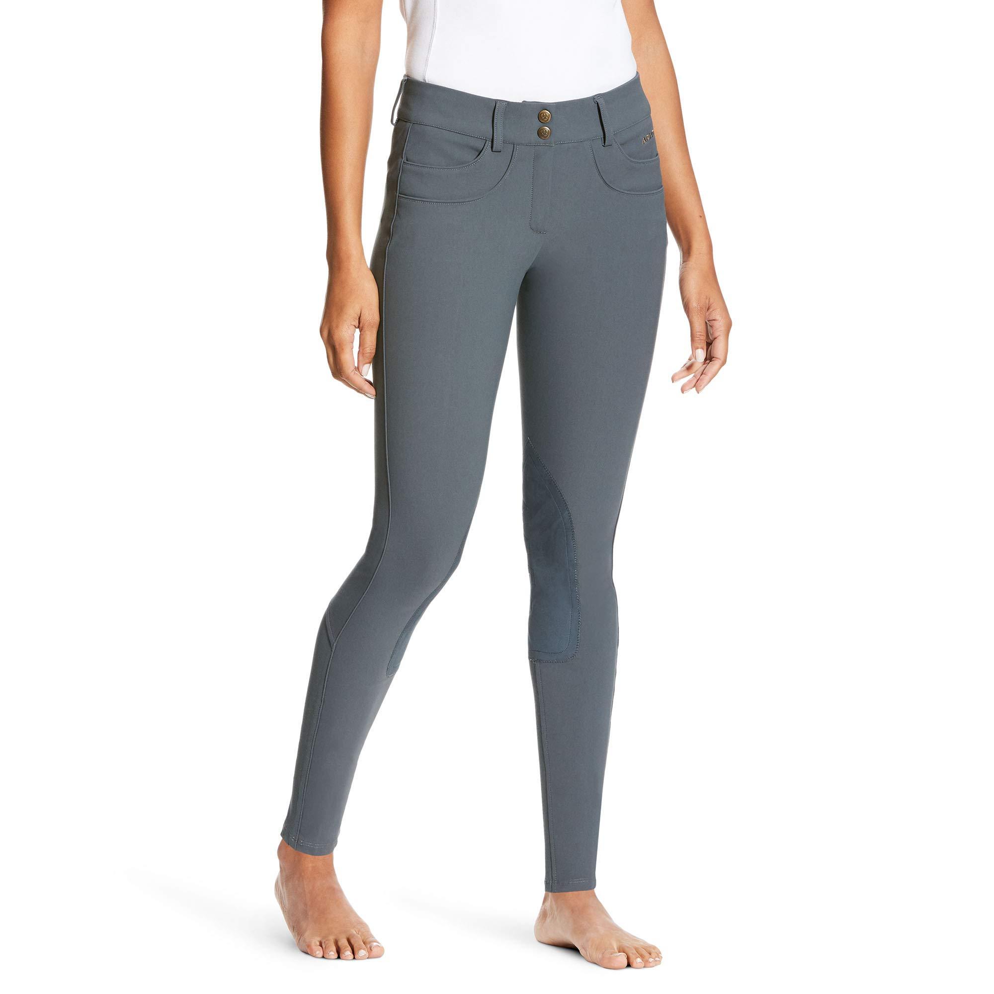 ARIAT Women's Olympia Low Rise Knee Patch Front Zip Knee Patch Breech Granite Size 24 Regular