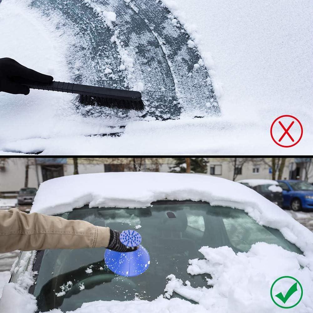 Blue 2Pack MVORVTC Windshield Ice Scraper Car Window Snow Remover Cone-Shaped Magic Snow Scraper Round Funnel Removal Frost Shovels Tool