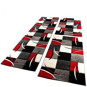 Paco Home Bettumrandung Laufer Teppich Modern Karo Rot Grau Schwarz