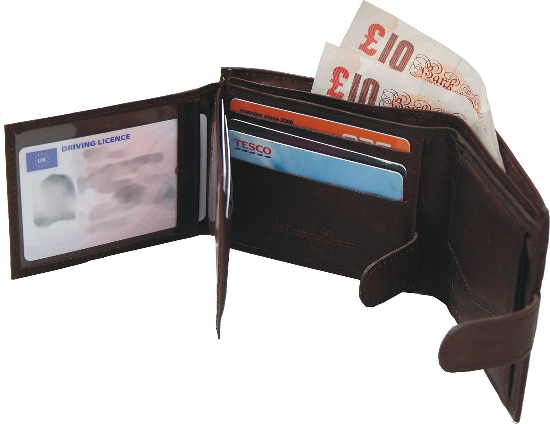 tama/ño 80cm - 120cm Ashford Ridge Premium completa Ocultar cintur/ón de cuero /& Wallet Set de Regalo en negro o marr/ón