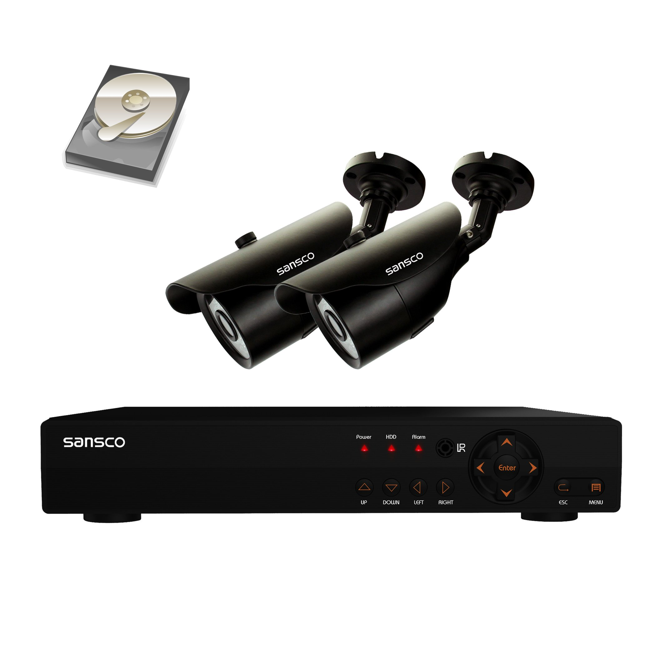 SANSCO 4-Channel 1080N DVR Recorder CCTV Security Systems with 2x Super HD 1.0MP Outdoor Cameras And 1TB Hard Drive (1280x720 Bullet Cam, Rapid USB Storage Backup, Vandal and Water-Proof Body)