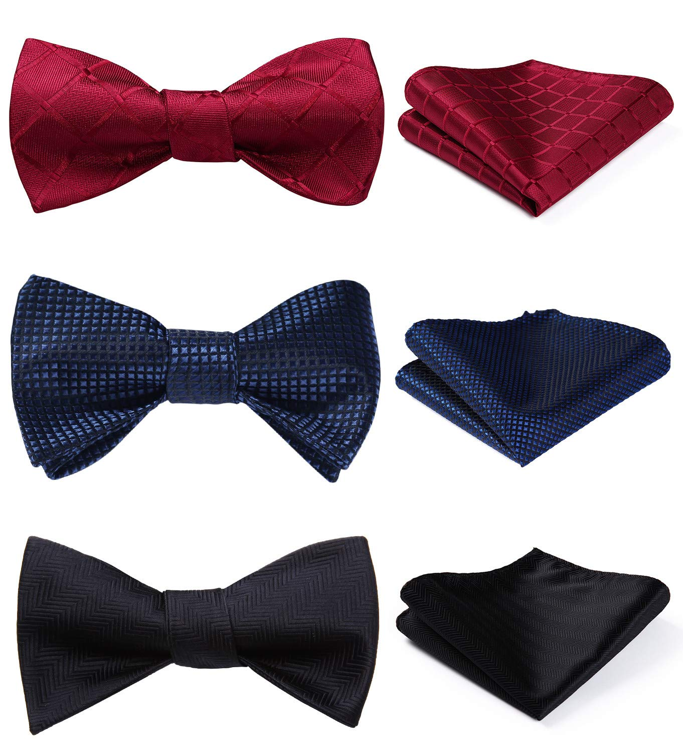 HISDERN 3 Packs Classic Solid Color Self Tie Bow tie & Pocket Square Sets Good Gift for Men by HISDERN