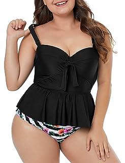 d427a68e8e4 luvamia Women's Plus Size Tie Front Ruffle Tankini High Waist Swimsuit Set  M-XXXL