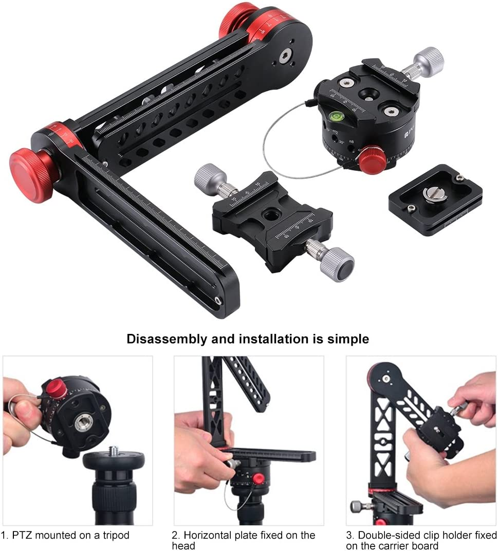 JIN Tripod Heads 720 Degree Panoramic Aluminum Alloy Ball Head Quick Release Plate Kits Camera Accessory