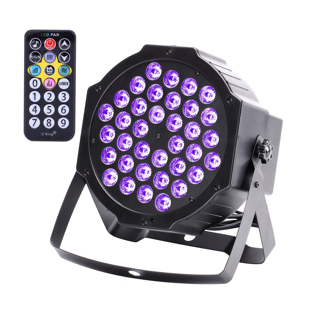 U`king LED Black Light 72W UV Lighting Par Lights Glow in the Dark Supplies Blacklight For Christmas and Birthday Party, Wedding Stage Controlled By IR Remote and DMX