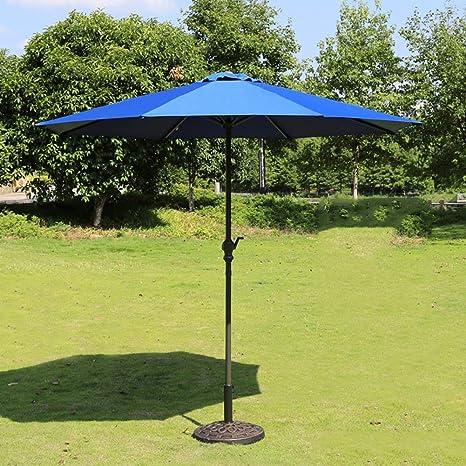 LNDDP Sombrillas Market Patio Sombrilla al Aire Libre Jardín Mesa jardín Toldo Solar Sombrilla Poste Hierro Protección UV 270cm * 250cm (Color: Azul): Amazon.es: Deportes y aire libre