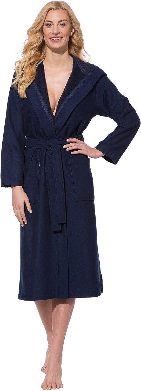 Morgenstern, Damen Bademantel mit Kapuze, 120 cm Lang, Größe M, Farbe Blau (Dunkelblau), Leicht