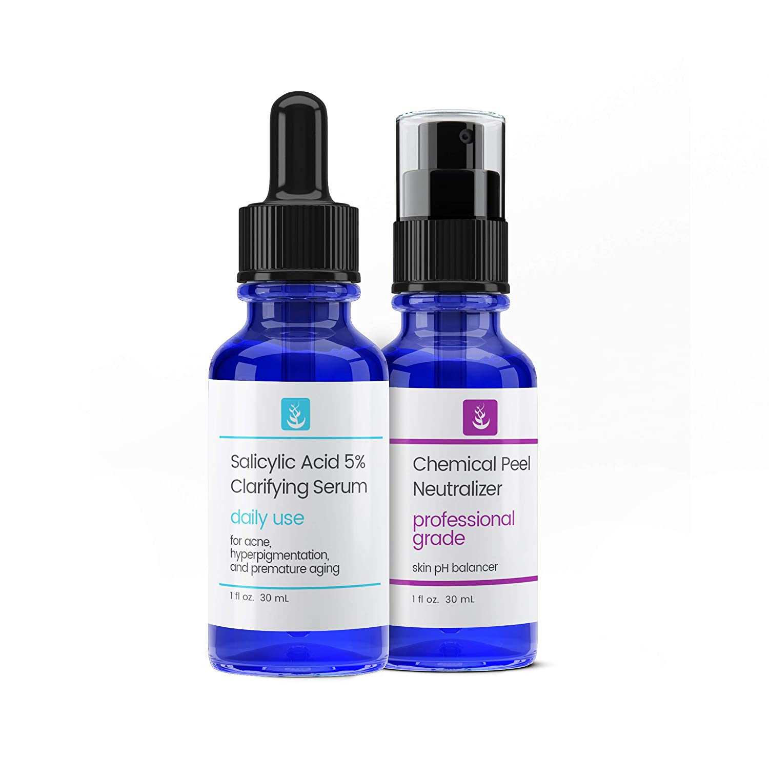 Salicylic Acid 5% Solution & Neutralizer (30 ml each) by Pure Ingredients, Daily Use Facial Serum, Effective Yet Gentle, Treats Acne, Hyper-Pigmentation, & Premature Aging