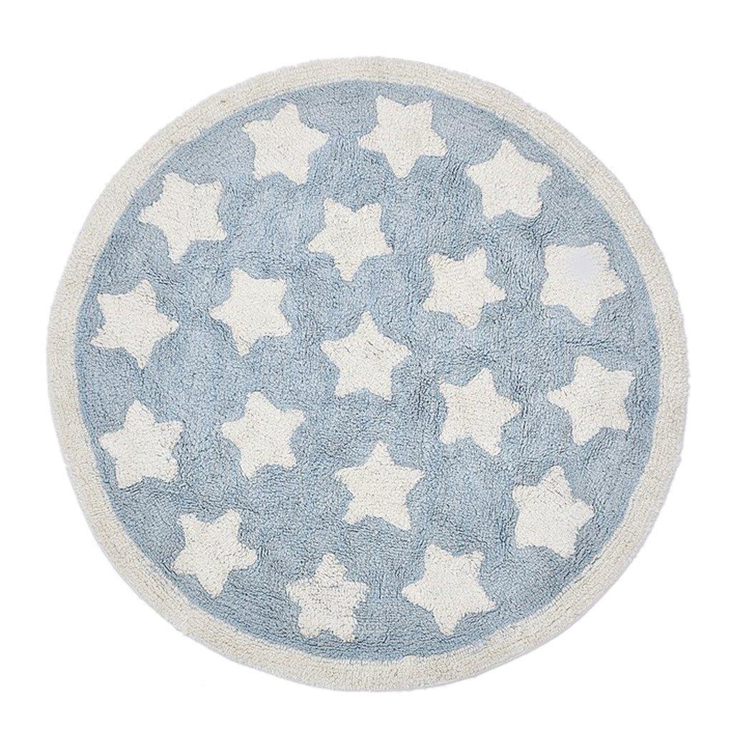 B Blesiya 110cm Diameter, Ultra Soft Fluffy Star Area Rugs Round Mat Home Shag Carpet for Living Room