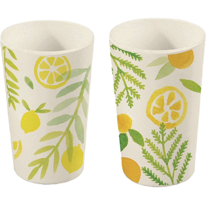 Amatable Gobelets Zest Bambou Set de 2 assortis Jaune et orange D8,5 x H13 cm