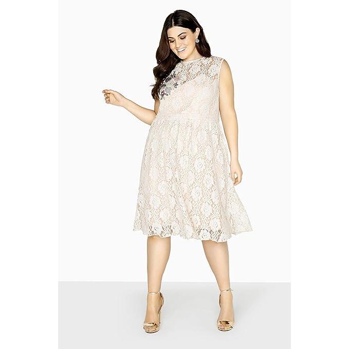8741c1df785 Little Mistress Curvy Womens Ladies Sleeveless Lace Prom Dress (12 US) ( Cream