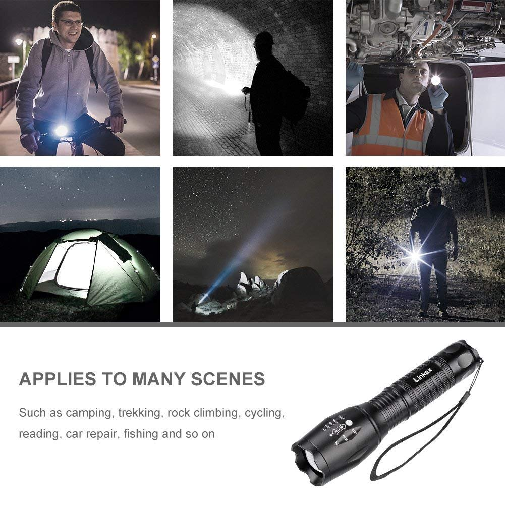 Linkax LED Taktische Taschenlampe 4 St/ück Superhelle 800 Lumen Taschenlampen Tragbare Zoombar Taschenlampe Outdoor Camping Handlampe Mit einstellbarem Fokus inklusive 12 AAA Batterie