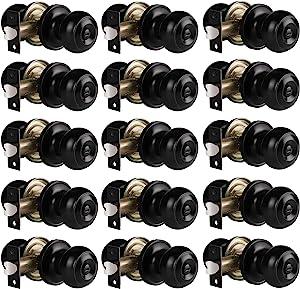 Gobrico Black Interior Door Lockset, Bedroom Bathroom Privacy Door Knobs with Lock, Keyless Interior Handles with Thumb-Turn Locking, Flat Ball Style, 15Pack Bulk Pack